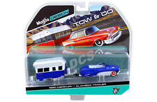 MAISTO  TOW & GO 1950 MERCURY with ALAMEDA TRAILER 1/64 BLUE WHITE 15368G