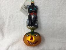 "Large 7.5"" Kitty Patch Radko Halloween Ornament Black Cat & Pumpkin Blown Glass"