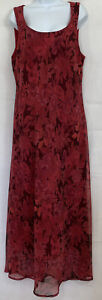 Believe. Burgundy Floral Maxi Dress Sz 16 Long Sheer Lined Sleeveless Scoop Neck