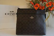 NWT COACH F58297 Signature File Bag Crossbody Handbag  Brown & Black  $225.00