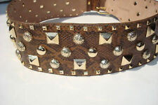 Leather Animal Print Studded Belts for Women