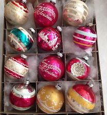 12 SHINY BRITE Indent Stenciled Snow White Stripe Mica CHRISTMAS Tree Ornaments