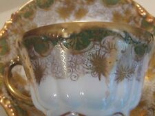 Antique Jean Pouyat JPL LIMOGES tea cup saucer GREEN GOLD GILT Dated