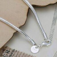Fashion 925 Silver Bracelets 3MM Snake Chain Bracelet For Women Jewelry gift