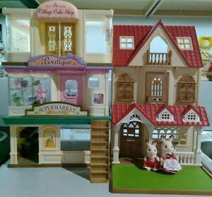 Huge Calico Critters Lot Red Roof Cottage Boutique Supermarket Cake Shop...