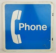 Vintage Public Telephone Pay Phone Booth Double Sided Metal Flange Sign 18 x 18