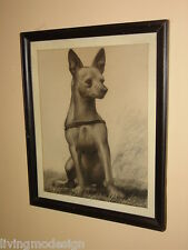 Original Listed Artist Roy Hilton (1891 - 1963) Chihuahua Dog Charcoal Drawing