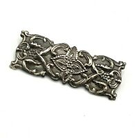Vtg Silver Tone 3D Repousse Brooch Rectangular Pin