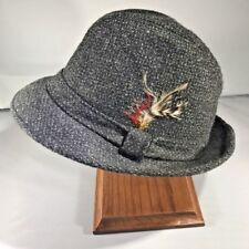 Vintage Fedora Hat - Black and Gray Tweed with Feather - Medium