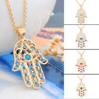 New Evil Eye Fatima Hand Chain Necklace Lucky Hamsa Pendant Gold Plated jewelry