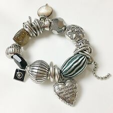 "Chunky Resin & Glass Bead Silver Charm Bracelet ""Love the Lord"" Inscription B5"