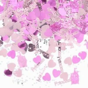 Princess Happy Birthday Table Confetti Pink Hearts Party Decoration Partyware