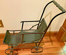 VINTAGE ANTIQUE BABY DOLL BUGGY STROLLER CARRIAGE COLLAPSIBLE METAL CANVAS