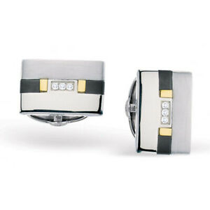 Men's Titanium and Stainless Steel  Diamond Dolan Bullock 18k Gold, Cuff Links