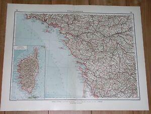 1924 ORIGINAL VINTAGE MAP OF PAYS DE LA LOIRE POITOU NANTES FRANCE CORSICA