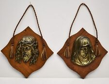 Vintage Jesus Christ & Mother Mary Gilt Bronze Head Bust Religious Wall Plaques