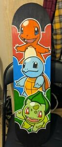 Charmander Squirtle And Bulbasaur  Gen 1 Pokemon Skateboard Deck Hand Painted.
