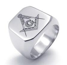 Stainless Steel Freemasonry Masonry Jewelry Mason Men's Ring SR115