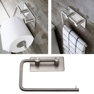 Polished Stainless Steel Toilet Roll Holders Self Adhesive Stick Wall Mount UK