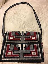 Vintage 60's 70's Crochet purse Handbag monogrammed Lb- gray maroon black