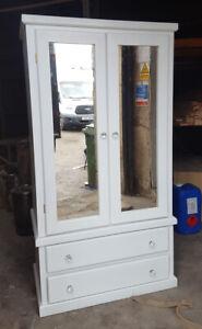 HANDMADE DORCHESTER MIRRORED 2 DOOR DRAWER DOUBLE WARDROBE IN GREY ASSEMBLED