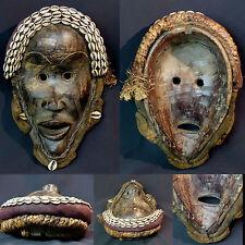 Art Africain superbe masque très ancien Dan Libéria bois porcelaine très déco ++