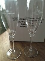 MOET CHANDON CHAMPAGNE CRYSTAL RARE ETCHED RIBBON FLUTES X 2 UNBOXED RARE
