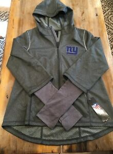 Girls Outerstuff NFL Equinox Layered Funnel Neck Jacket Steel Grey Size M Giants