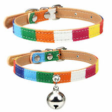 New Colorful Dog Collar Bell Canvas PU leather Cat Necklace Pet Collar Puppy XSM