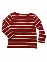 Ralph Lauren Polo Womens Long Sleeve Striped Pony Logo Wide Neck Shirt Red New