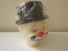Vintage Clown Hobo Rubber Plastic Man Molded Doll Head W/ Molded Hat