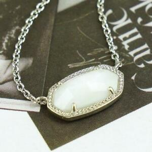 NWT Kendra Scott Elisa White Pearl Shell Necklace Silver Tone