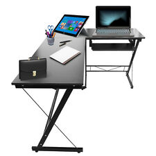 L-forma computer tavolo a casa studio mobili per ufficio scrivania angolare Nero