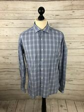TED BAKER ENDURANCE Shirt - Size 16 - Check - Blue - Great Condition - Men's