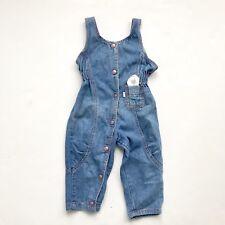 Vintage Girls Levi's Pink Label Denim Jean Jumper Overalls Pink Buttons 24 Month