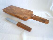 DANSK TEAK WOOD BREAD & SALAMI  BOARD BY JENS QUISTGAARD W/ EXTRA KNIFE