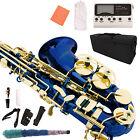 Blue Lacquer Brass Alto Saxophone Eb 2 Tone Sax w/Tuner Case Carekit Accessories