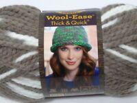Wool-Ease wool blend Super Bulky Brown White Knit Crochet skein Seagull