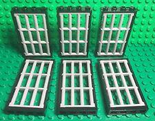 Lego X6 New Bulk City Police Prison Lattice Barred Bar W/ Black Door Frame 1x4x6