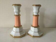 Pair Porcelain Candlesticks Peach, White & Gold Gilt-Vintage.            #2268
