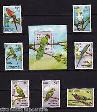 More details for kampuchea - 1989 parrots - u/m - sg 969-75 + ms976