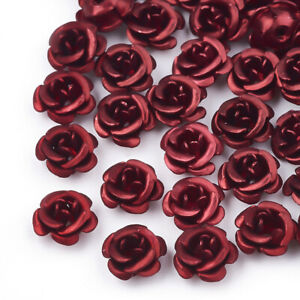 50x Frosted Long-Lasting Plated Dark Red 5-Petal Flower Aluminum Beads 6~6.5x4mm