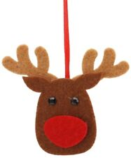 6 Felt Reindeer.Christmas tree decorations.Thick felt with black jewel eye 7x7cm