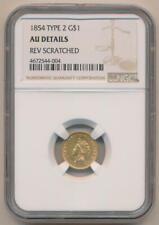 1854 Type 2 $1 Dollar Gold. NGC AU Details