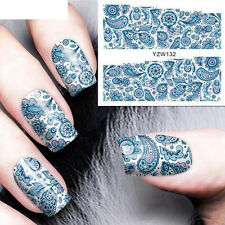 NAIL ART STICKER WATER TRANSFER STICKERS 3D BLUE FLOWER DECALS TIPS DECORATION