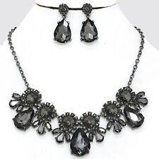 Black Diamond Crystal Necklace Earrings Teardrop Formal Wedding Jewelry Set