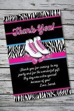 Roller Skating Birthday Party Thank You Card Note Skates Girl Zebra Print 13th