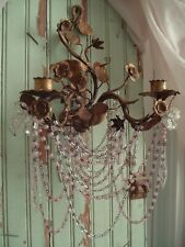 Vintage Italian Wall Sconce Pink Opaline Macaroni Beaded Chain