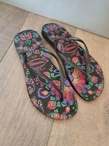HAVAIANAS Floral Thong Flip Flops Size EU41/2 US7/8 BRL 39/40