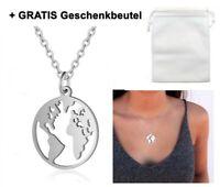☆ Weltkugel Erde Planet Silber ☆ Damen Halskette Gravur   Geschenkbeutel GRATIS